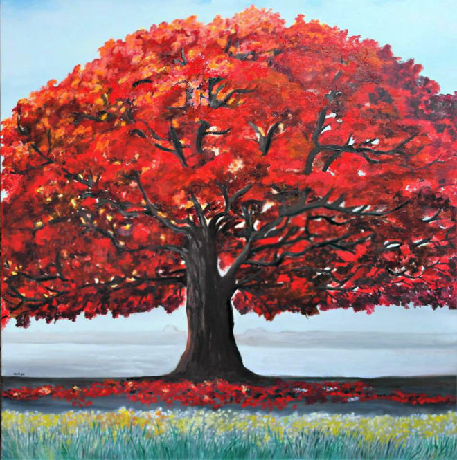 dipinto a olio ;Albero solitario